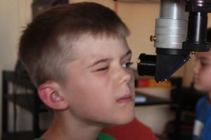 Looking into the UT telescope.