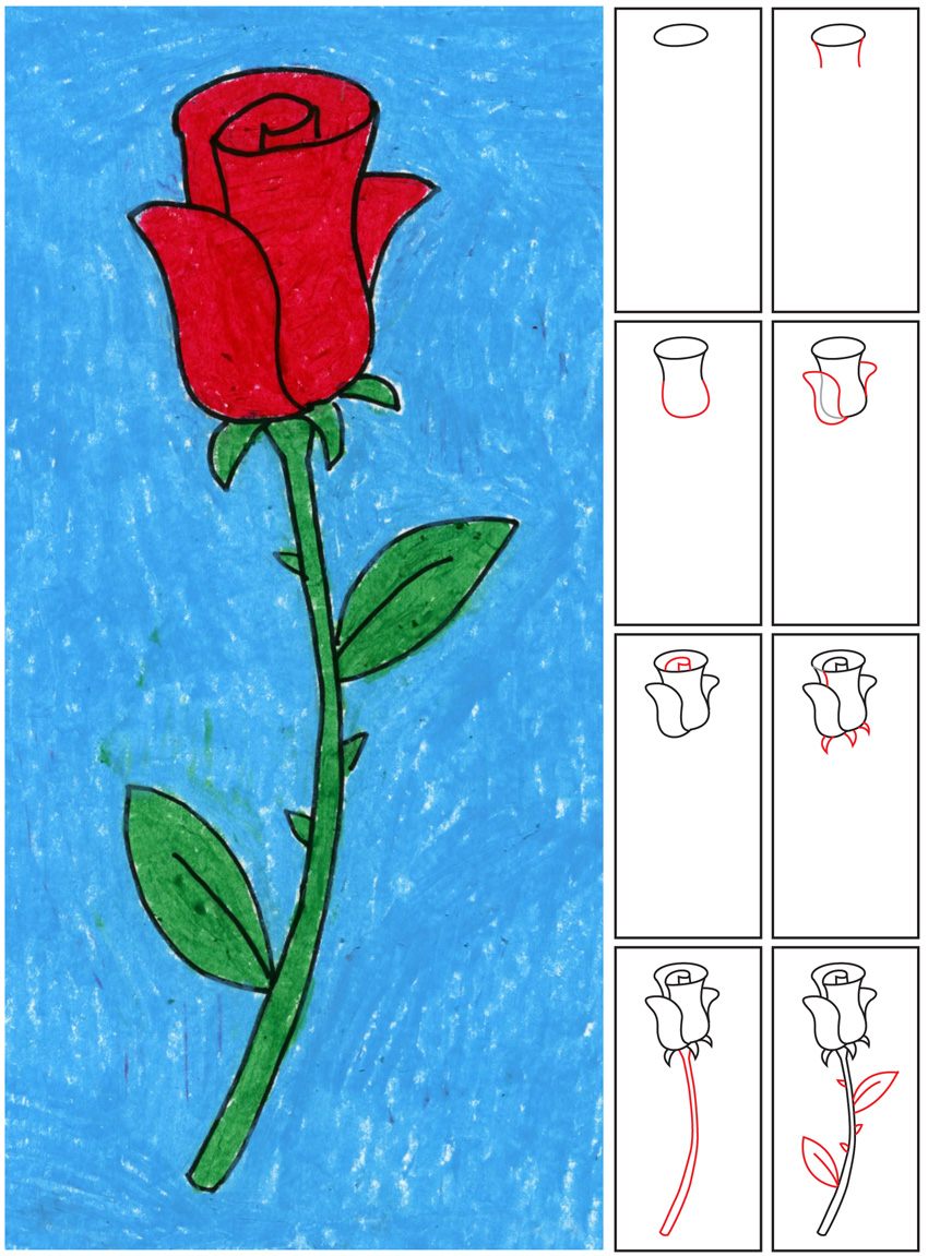 Easy Rose Drawing Step By Step